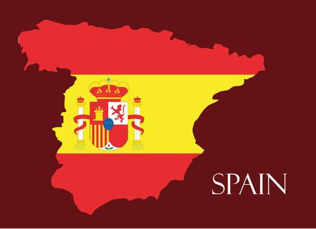 스페인, 안에 플래그가있는 스페인지도 벡터,지도 벡터 일러스트