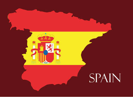 Spain map with flag inside, spain map vector, map vector