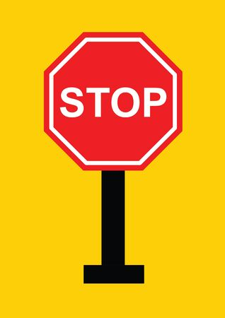 stop sign: stop sign vector in yellow background, sign vector, stop vector