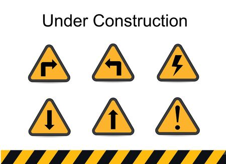 men working: under construction signs, traffic vector, under construction vector Illustration