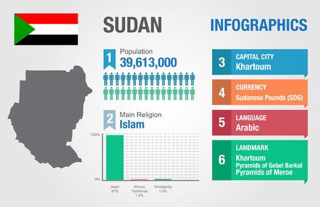 statistical: Sudan infographics, statistical data, Sudan information, vector illustration