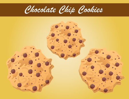 chocolate chip: chocolate chip cookies vector, cookie vector, bakery