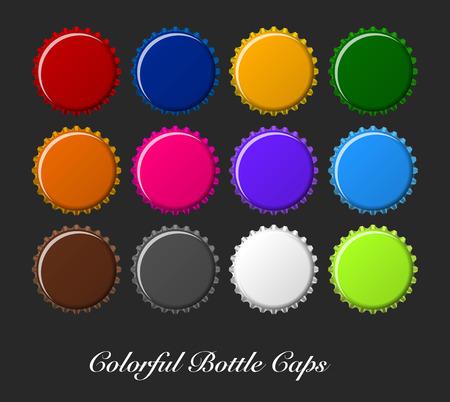 colorful bottle caps, bottle caps vector