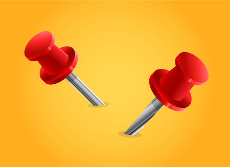 yellow tacks: red pin vector in yellow background, red pin vector Illustration