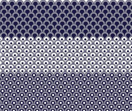日本の波のパターン  イラスト・ベクター素材