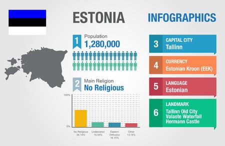 statistical: Estonia infographics, statistical data, Estonia information, vector illustration