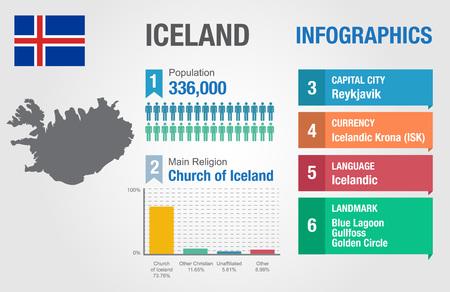 statistical: Iceland infographics, statistical data, Iceland information, vector illustration