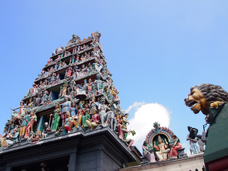 mariamman: Sri Mariamman Temple, located in the Chinatown neighborhood, is the oldest Hindu temple in Singapore Stock Photo