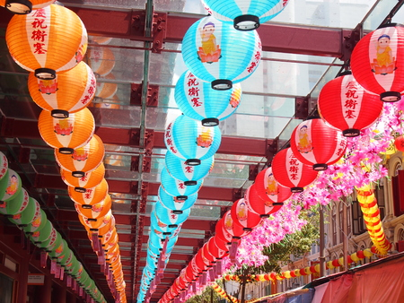 venerable: Traditional Chinese colorful Lanterns for decoration in China town Singapore