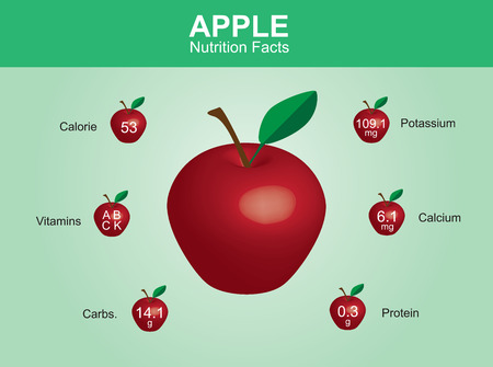 potassium: apple nutrition facts apple fruit with information apple vector