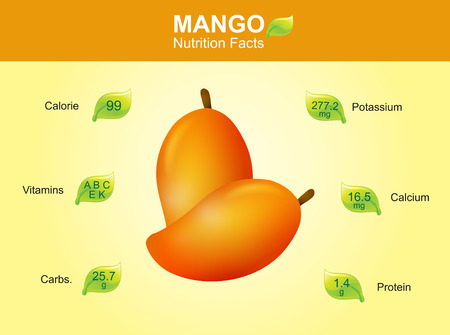 facts: mango nutrition facts mango fruit with information mango vector