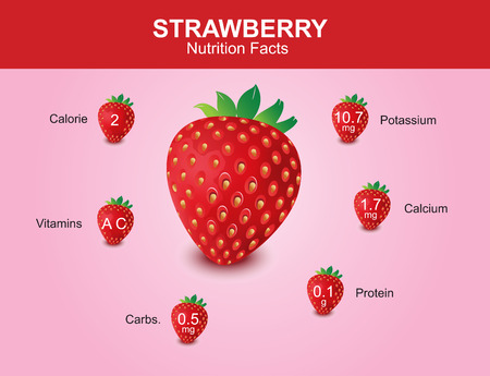 strawberry nutrition facts strawberry fruit with information strawberry vector