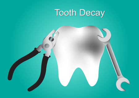 diente caries: Diente Caries vector tratamientos de caries