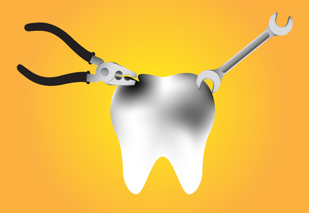 dentin: illustration of repair a tooth decay on yellow background Illustration
