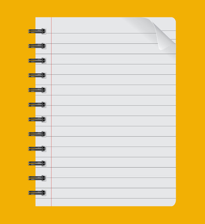 realistic spiral notepad notebook isolated on yellow background Paper sheet Illustration