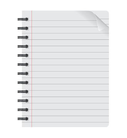 Realista libreta espiral aislado en la hoja de papel hoja de papel aislado vector Foto de archivo - 41756658