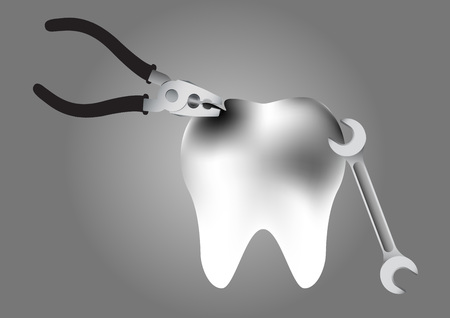 decay: illustration of repair a tooth decay on grey background