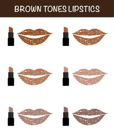 lapiz labial: tonos marrones barras de labios l�piz labial en labios pintalabios vectorial.