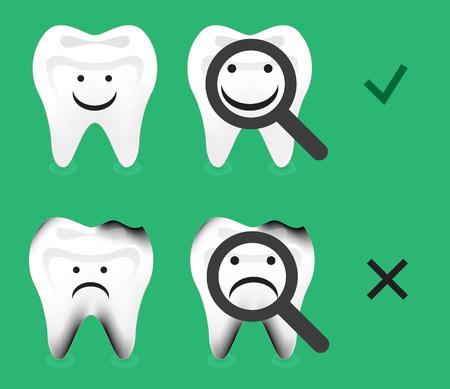 diente caries: diente dental sana y la decadencia del vector caries