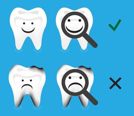 歯の健康と虫歯歯崩壊歯ベクトル