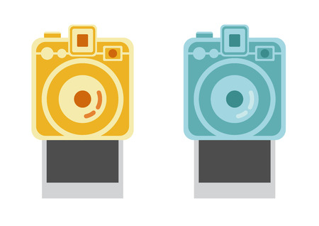 polaroid frame:  camera and frame, vintage camera vector,  vector Illustration