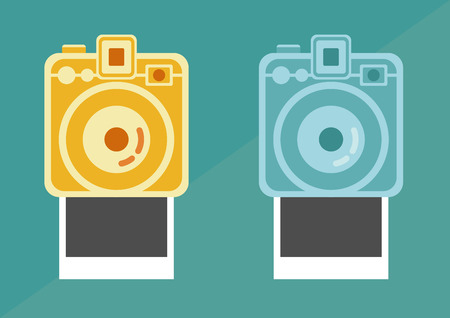 polaroid:  camera and frame, vintage camera vector,  vector Illustration