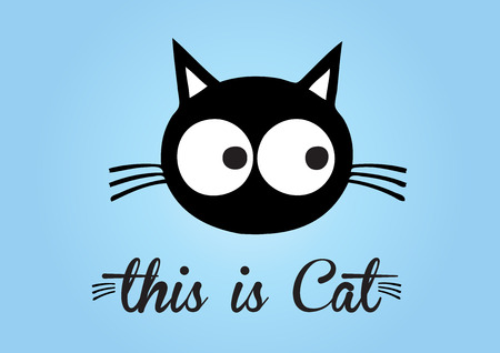 this: This is cat, cat vector, cute cat colorful. blue background Illustration