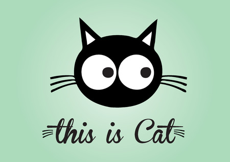 this: This is cat, cat vector, cute cat colorful. green background