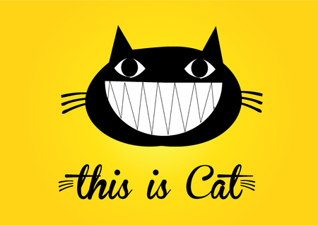 black and white image drawing: This is cat, cat vector, cute cat colorful. yellow background Illustration
