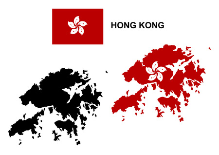 HONG KONG: Hong Kong map vector, Hong Kong flag vector, isolated Hong Kong