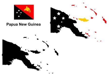Papouasie- Nouvelle-Guinée carte vecteur, papouasie nouveau vecteur Guinée drapeau, isolé Papouasie Nouvelle Guinée