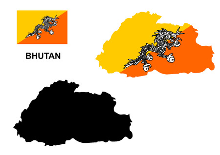 bhutan: Bhutan map vector, Bhutan flag vector, Bhutan