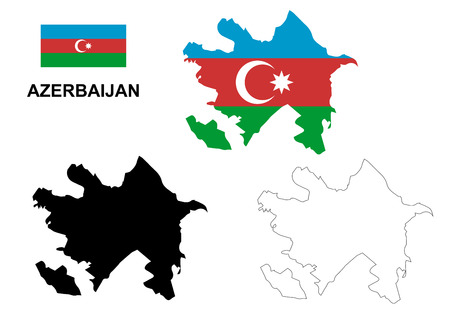 azerbaijan: Azerbaijan map vector, Azerbaijan flag vector, isolated Azerbaijan