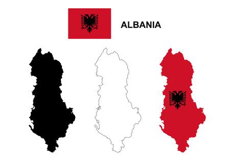 albanie: Albanie carte vecteur, drapeau vecteur Albanie, isol�e Albanie