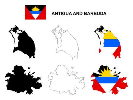 barbuda: Antigua and Barbuda map vector, Antigua and Barbuda flag vector, isolated Antigua and Barbuda