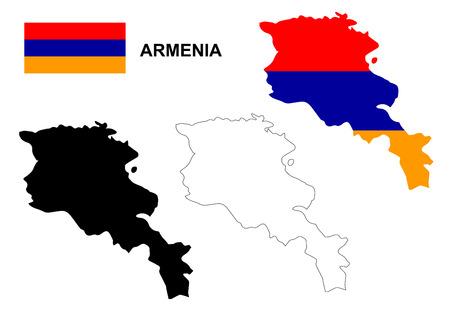 yerevan: Armenia map vector, Armenia flag vector, isolated Armenia