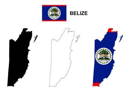 foreign nation: Belize map vector, Belize flag vector, isolated Belize Illustration