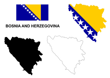 bosnia: Bosnia and Herzegovina map vector, Bosnia and Herzegovina flag vector, isolated Bosnia and Herzegovina