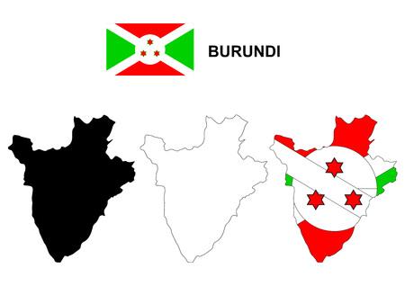 burundi: Burundi map vector, Burundi flag vector, isolated Burundi