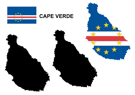 verde: Cape Verde map vector, Cape Verde flag vector, isolated Cape Verde