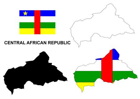 central african republic: Central African Republic map vector, Central African Republic flag vector, isolated Central African Republic Illustration