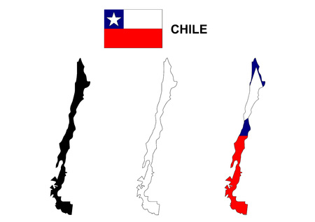 Chile map vector, Chile flag vector, isolated Chile 向量圖像