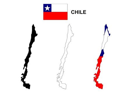 flag of chile: Chile mapa vectorial, Chile flag vector, aislado Chile