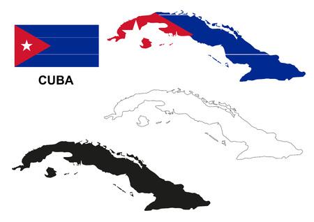 pentacle: Cuba map vector, Cuba flag vector, isolated Cuba Illustration