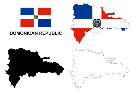 republic: Dominican Republic map vector, Dominican Republic flag vector, isolated Dominican Republic