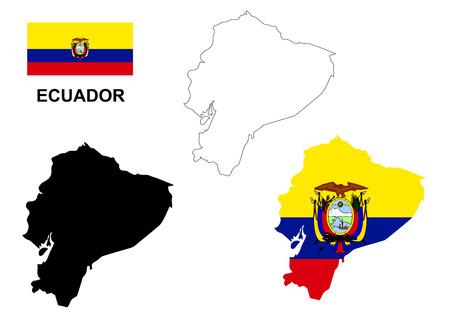 ecuador: Ecuador map vector, Ecuador flag vector, isolated Ecuador Illustration