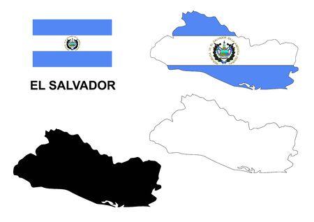 mapa de el salvador: El Salvador mapa vectorial, El Salvador bandera vector, aislado El Salvador Vectores