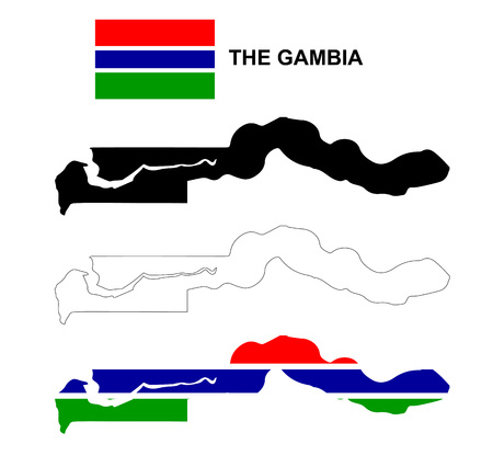 Gambia map vector, Gambia flag vector, isolated Gambia, The Gambia Illustration