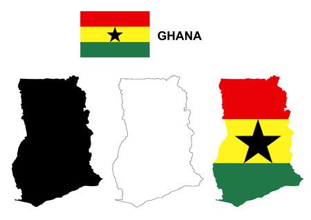 pentacle: Ghana map vector, Ghana flag vector, isolated Ghana Illustration