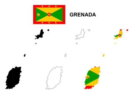 grenada: Grenada map vector, Grenada flag vector, isolated Grenada Illustration